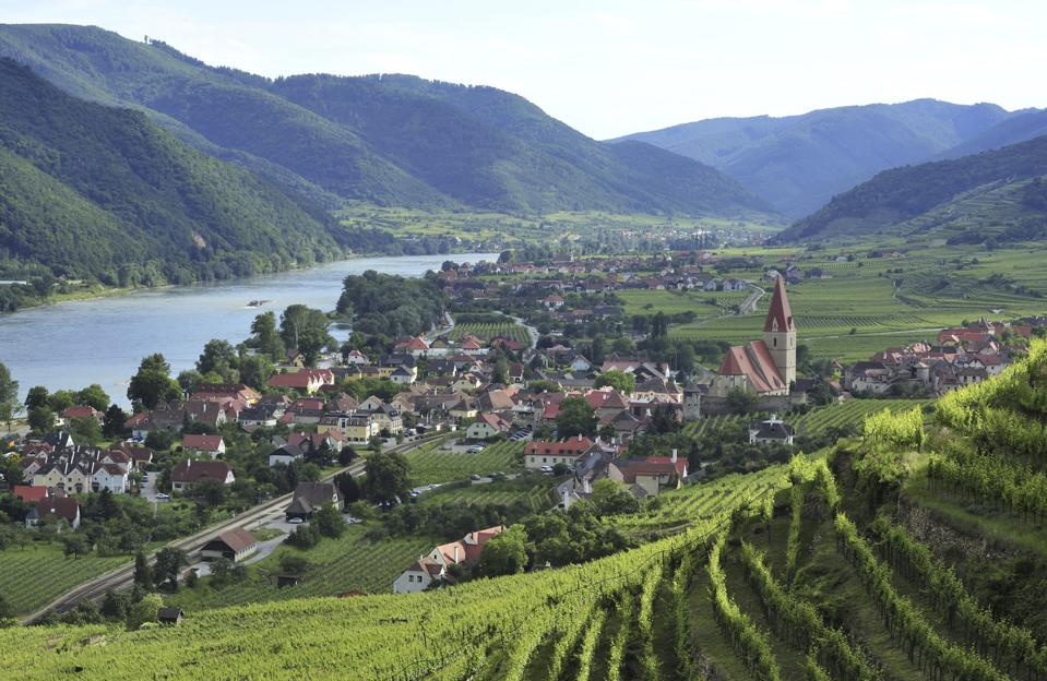 Weissenkirchen in der Wachau and Danube river