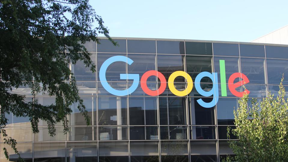 Google logo on corporate headquarters