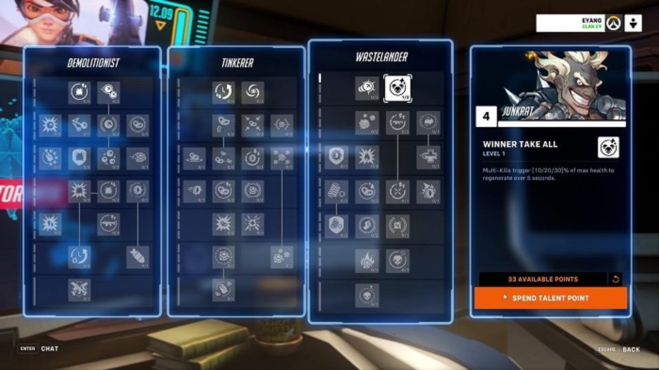 Junkrat's skill trees in Overwatch 2