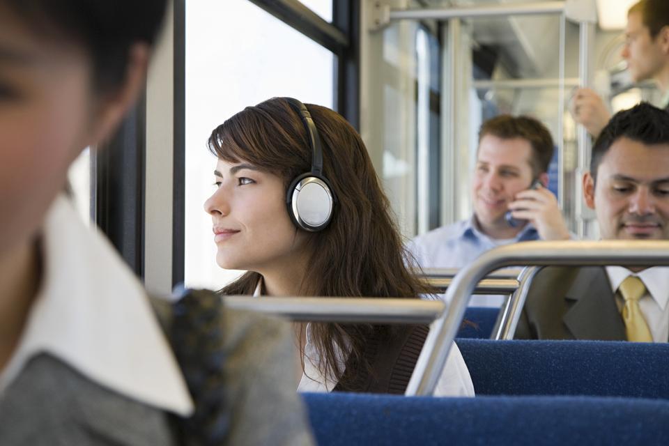 Commuters on train