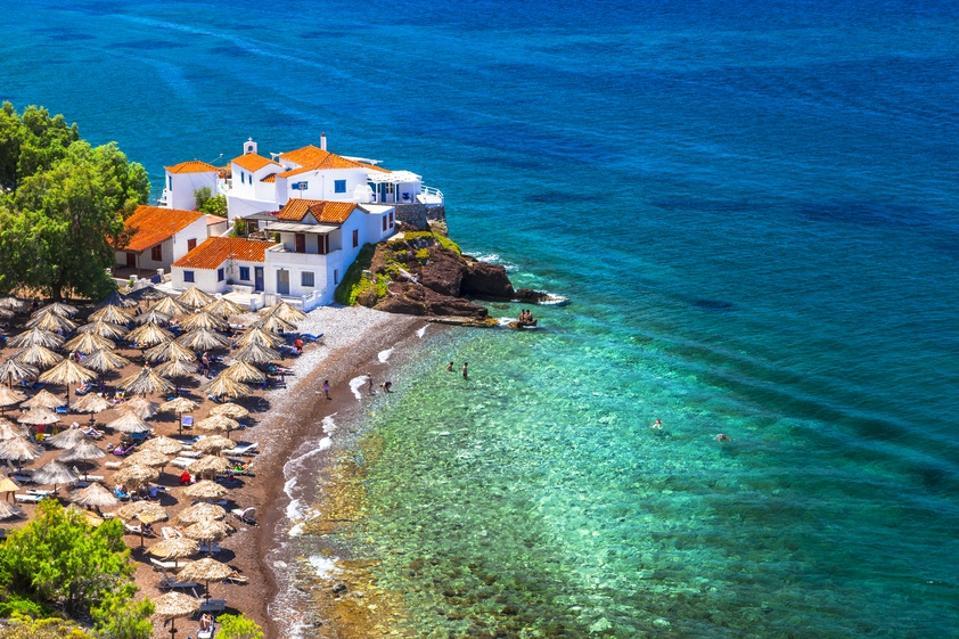 Beautiful Beaches of Hydra,Saronic,Greece.