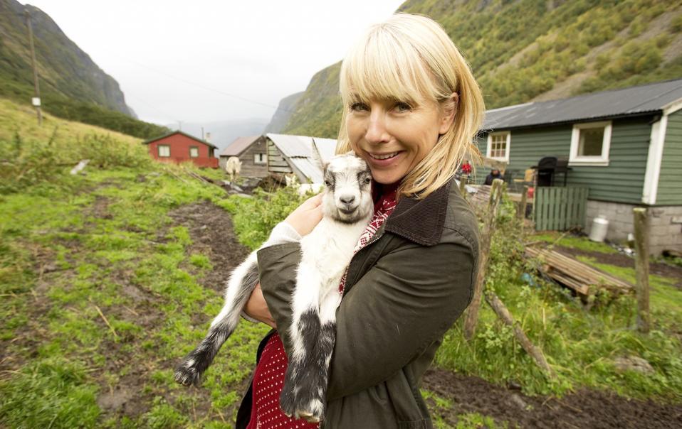 Karine Hagen on a goat dairy farm in Undredal, Norway.