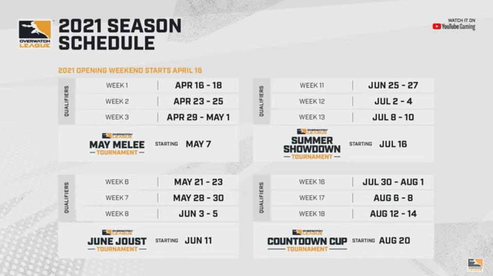 The 2021 Overwatch League tournament schedule
