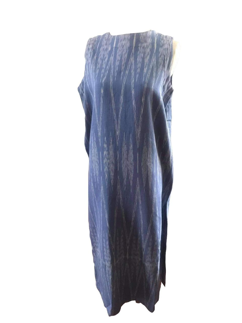 Blue long dress made using 100% handwoven Bagobo textile from CAMLU