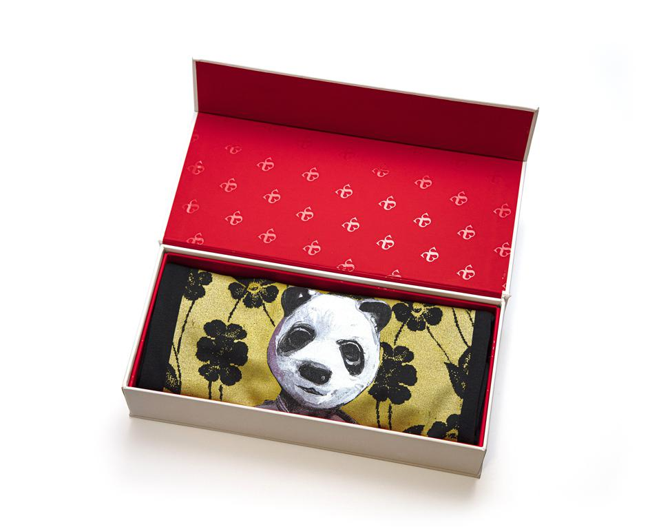 black t shirt with Charming Baker art painting of panda in a red box