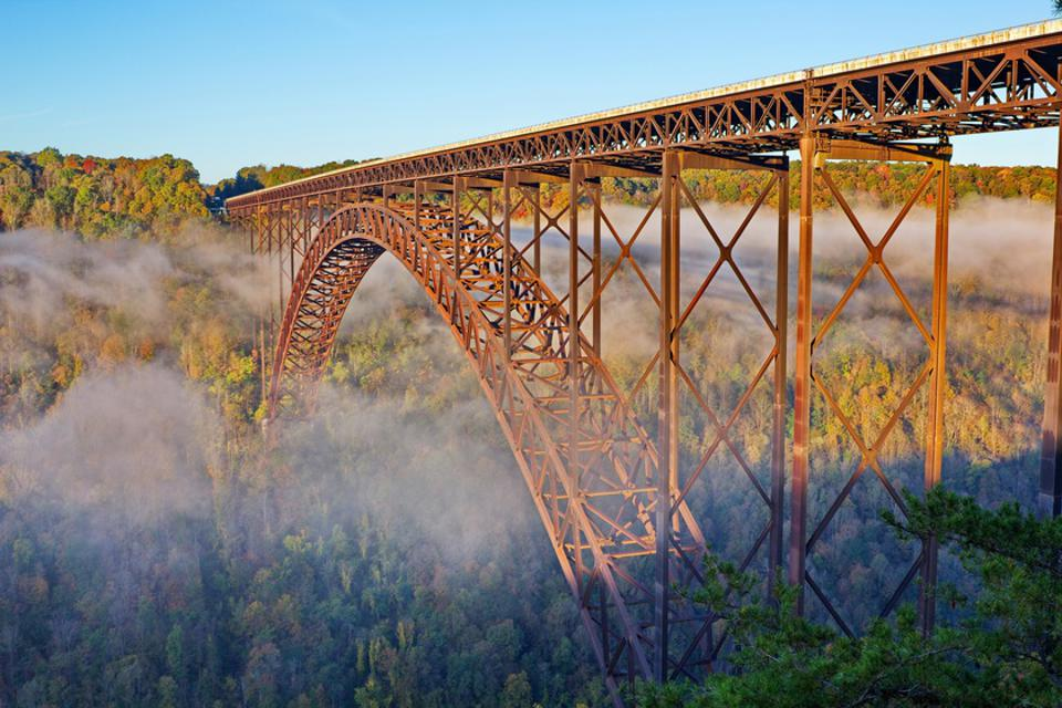 New River Gorge Bridge in Foggy Morning Fall Color
