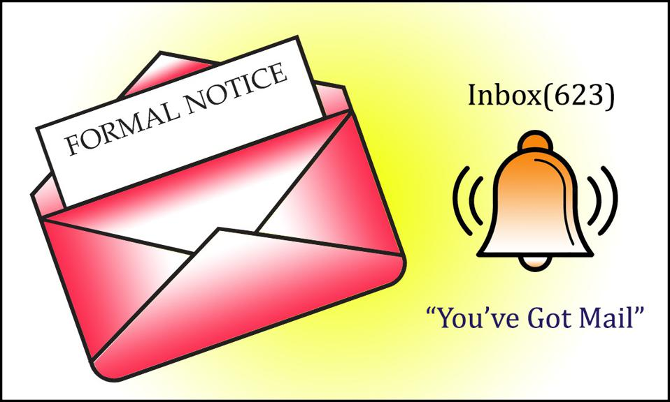 Envelope with a formal notice and also a notification bell that the recipient has email, with 623 emails in their inbox.