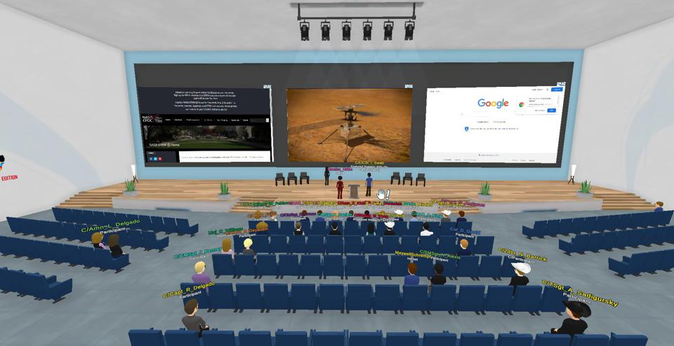 virtual conference with participants sitting in the classroom attending lecture