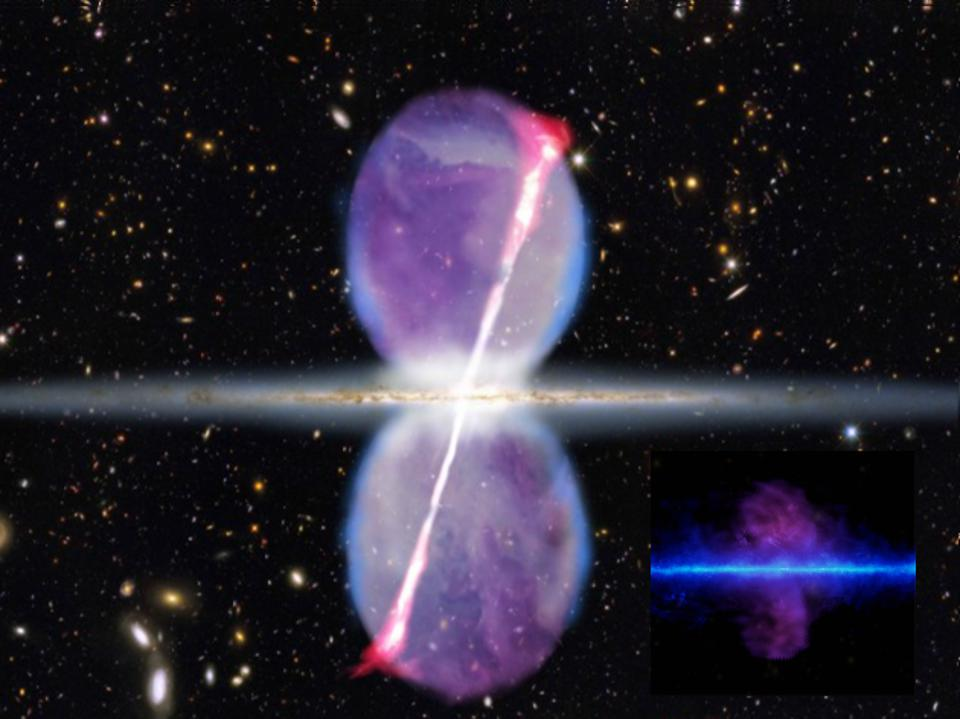 Illustration of our galaxy's Fermi bubbles with jets, with gamma-ray data inset.