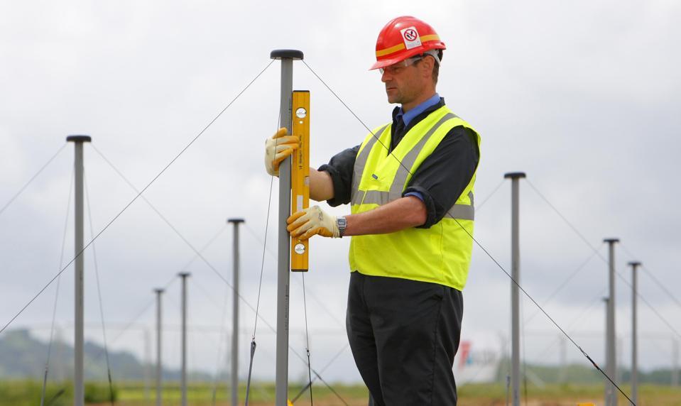 Installation Manager Derek McKay checks some of the 96 radio antennae installed for LOFAR.