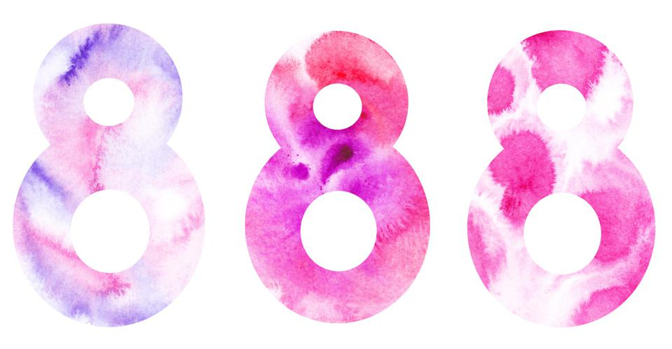 water colour pink number 8s