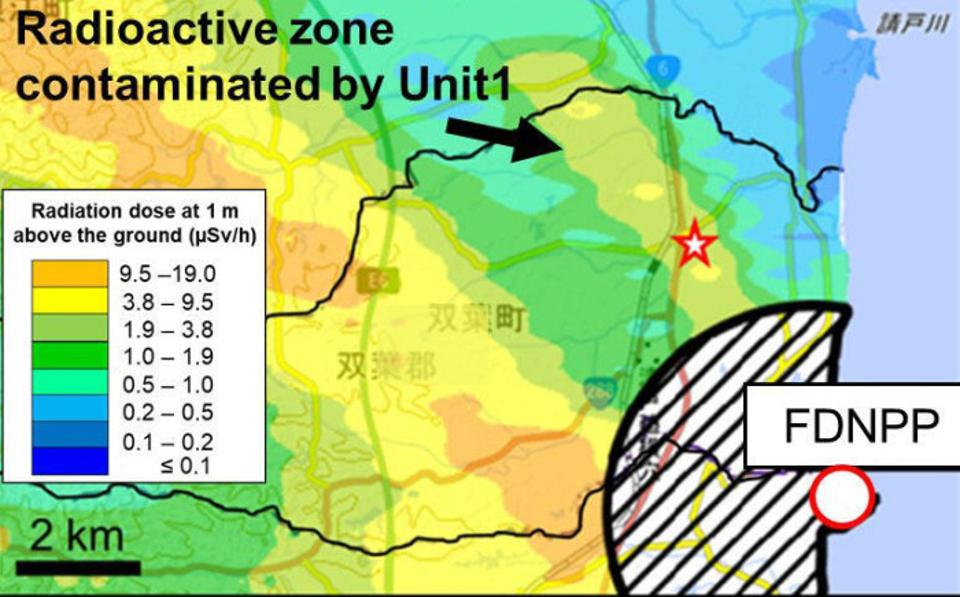 A map showing the location of the Fukushima Daiichi Nuclear Power Plant and the sampling site (red star) of soil samples containing the highly radioactive particles against the radiation dose at 1 m above the ground as of November, 2017.