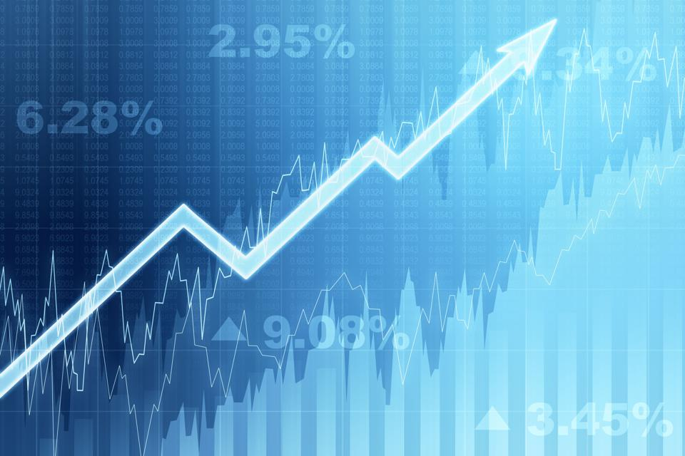 Front view of blue growing financial chart with arrow. Income and growth concept. 3D Rendering