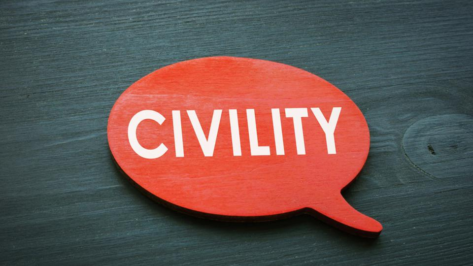 Civility concept. Red quote plate from wood.