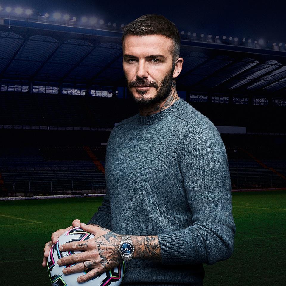 Tudor ambassador David Beckham wears a Tudor Royal Blue.