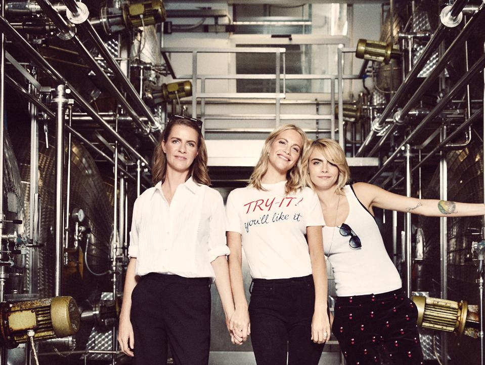 Chloe, Poppy, and Cara Delevingne at Foss Marai winery, where their Prosecco is produced.