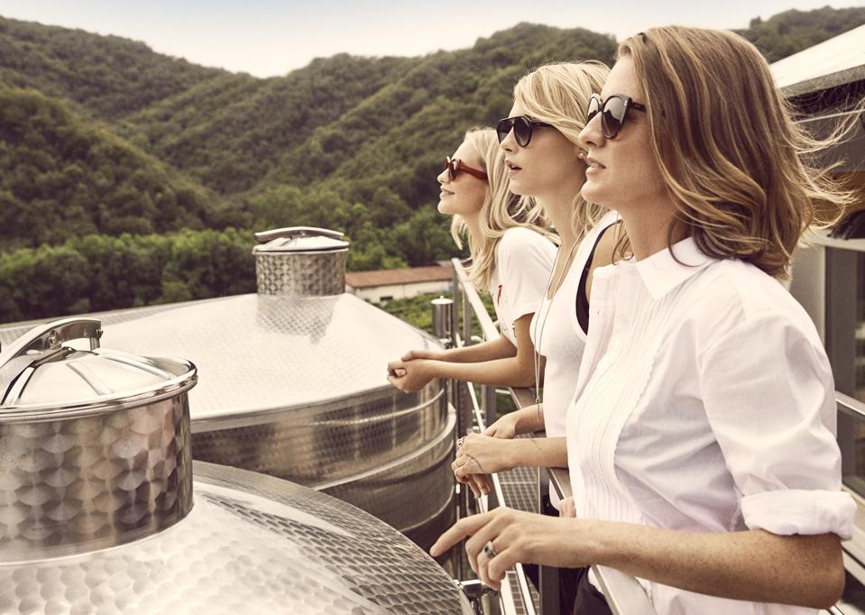 Sisters Poppy, Cara and Chloe Delevingne at the Foss Marai winery.