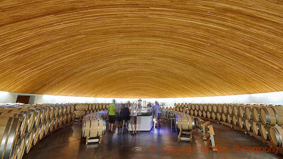 The barrel cellar and tasting room at Clos Apalta-Lapostolle, Colchagua