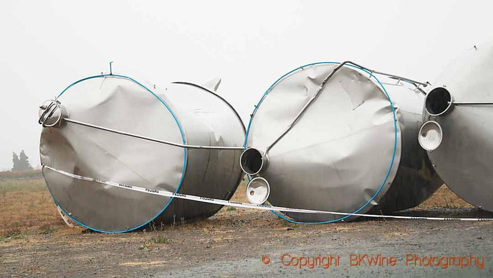 Tanks at a winery in Chile crushed by the earthquake in 2010