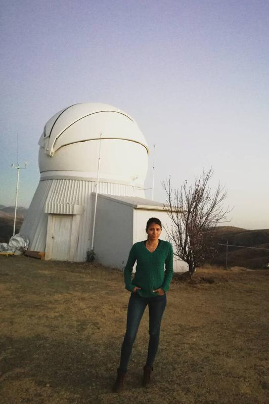 Colombian researcher Lauren Flor-Torres on TIGRE telescope at Guanajuato, Mexico, Jan 2017