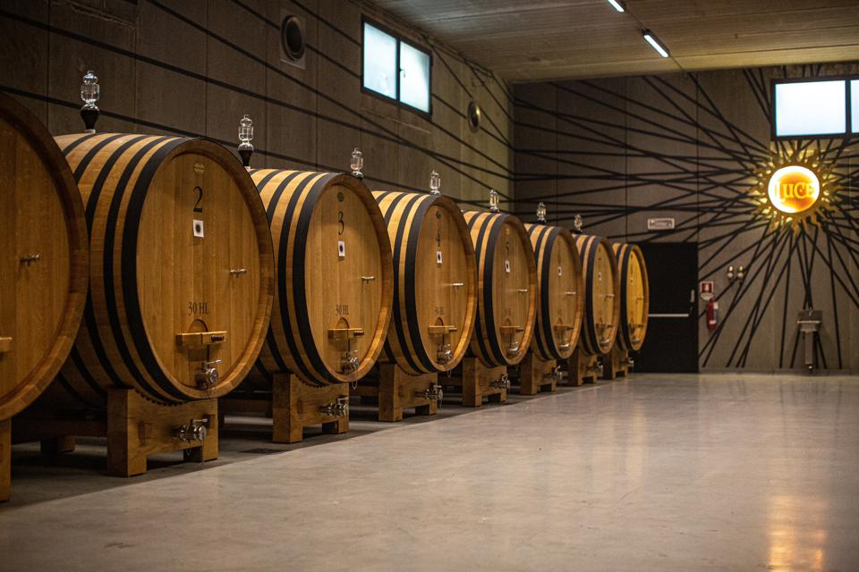 Inside the cellar of Luce della Vite