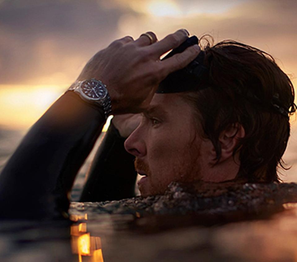 Actor Benedict Cumberbatch wears a Jaeger-LeCoultre Polaris Mariner Memovox.