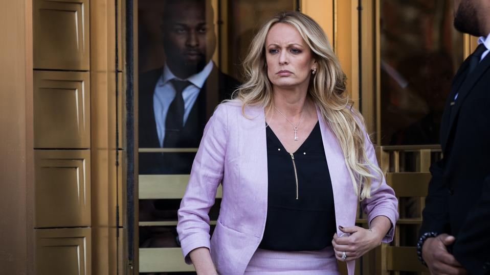 Stormy Daniels exiting courthouse