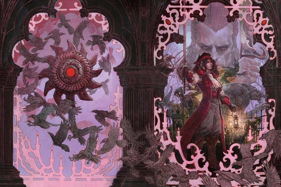 Esmerelda faces off against Strahd on the alternate art cover.