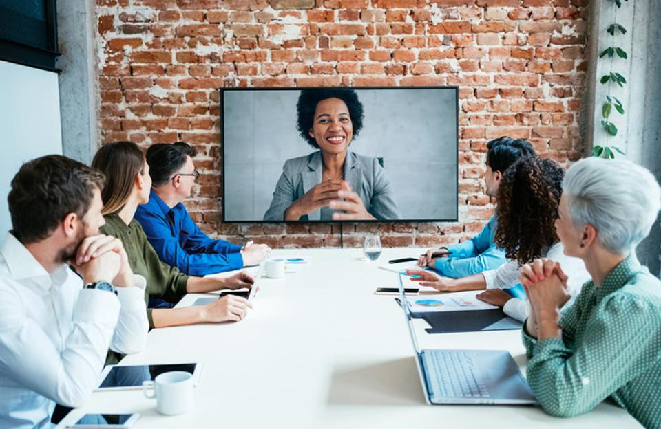 Business people in video conference.