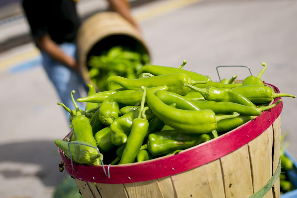 Man pouring green peppers into basket
