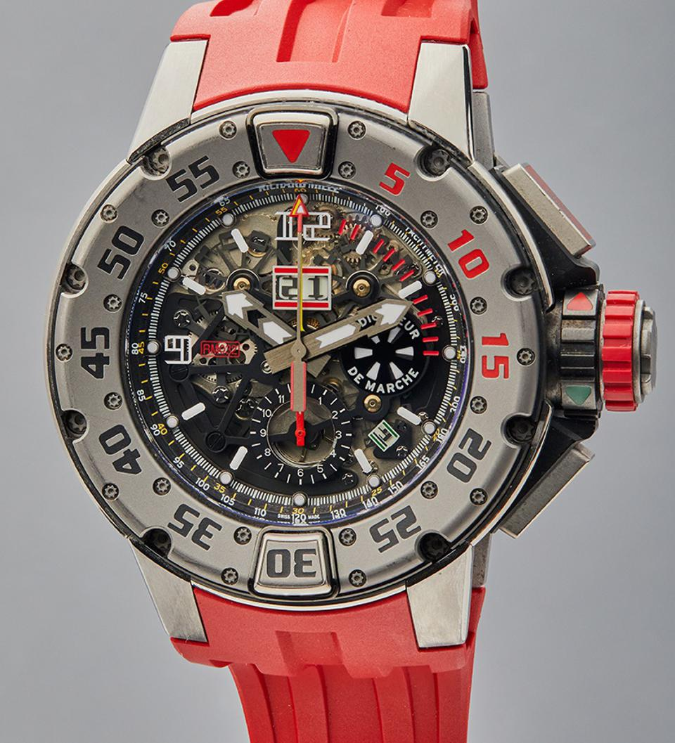 The Richard Mille RM 032 worn by Sylvester Stallone in Expendables III. It is a titanium annual calendar flyback chronograph diver's watch.