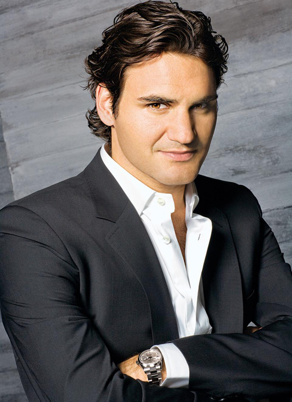 Roger Federer wears Rolex on and off the court.