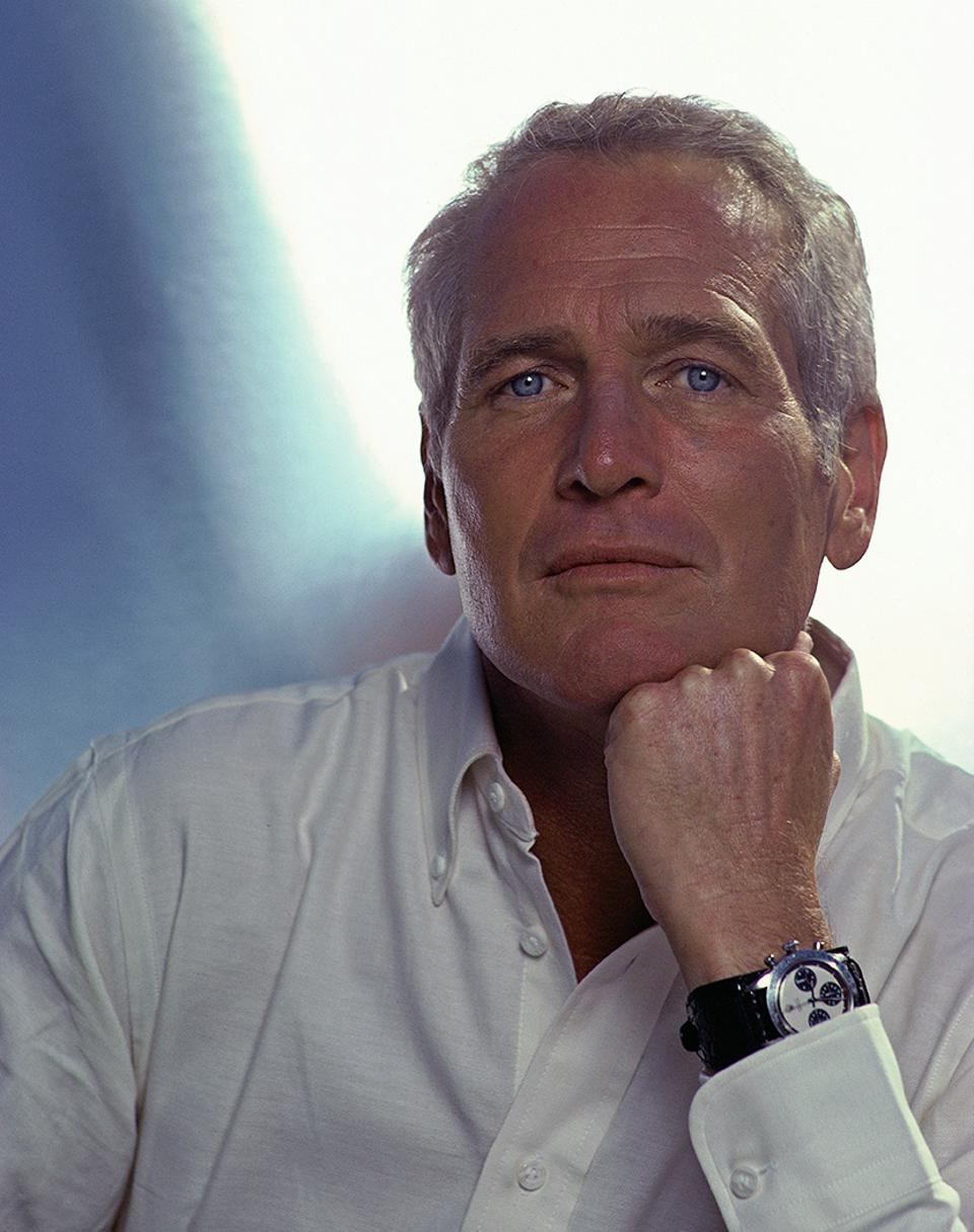 Paul Newman wearing his Paul Newman Rolex Daytona, which sold for $17.8-million at a Phillips auction in 2017.