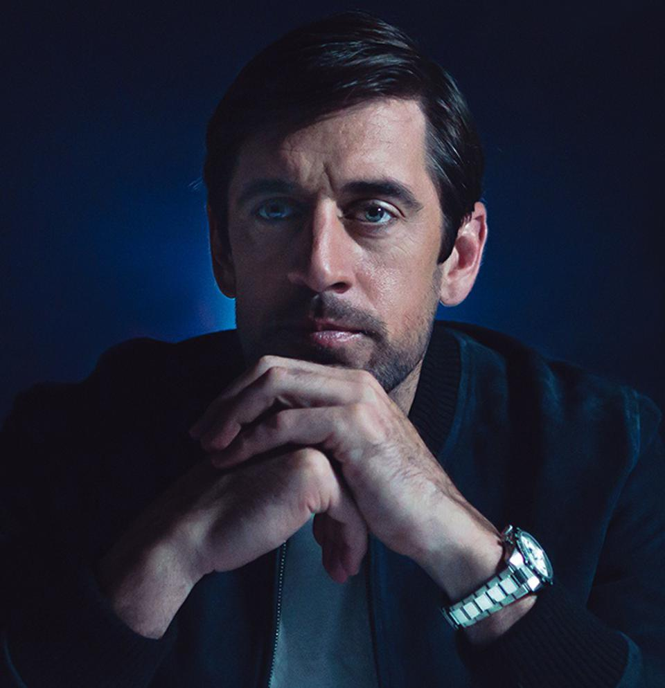 Green Bay Packers quarterback Aaron Rodgers wearing a Zenith Chronomaster Sport.