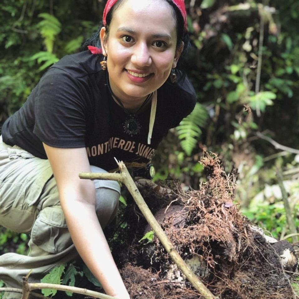 Diana Sentejo, experta en seguridad mexicana en un área de cultivo de café en la costa de Ciabas, México.
