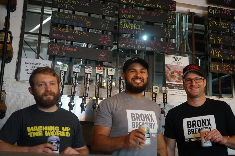 The team at The Bronx Brewery. Manny Salvatori, Lead Brewer & Intern Supervisor; Brandon Espinosa, Director of Culture, Community and Events; Damian Brown, President and Co-Founder