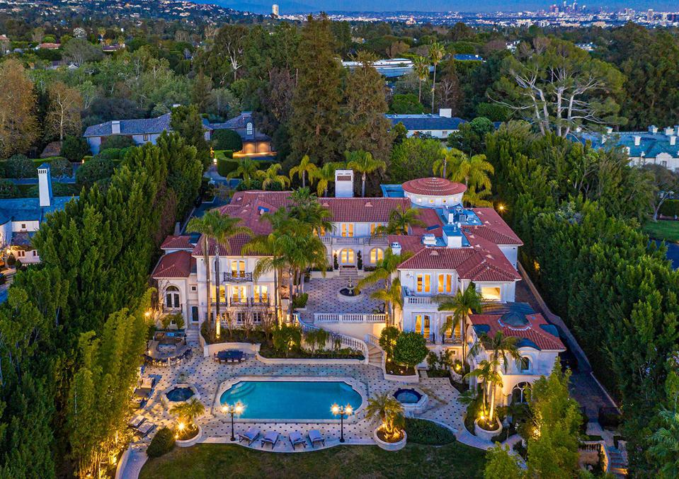 aerial photo of luxury bel-air home villa st pierre 46 million