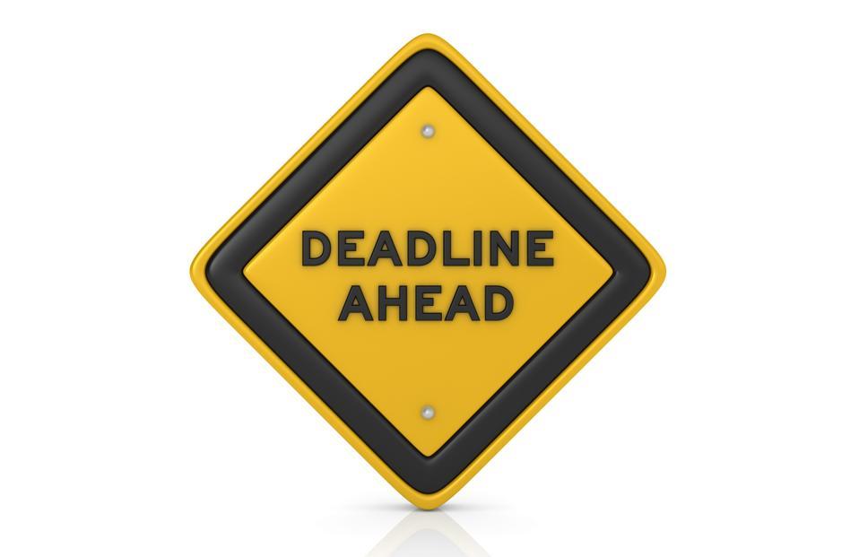 Deadline Ahead Concept Road Sign - 3D Rendering