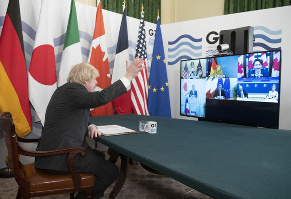 UK Prime Minister Hosts Virtual Meeting Of G7 Leaders