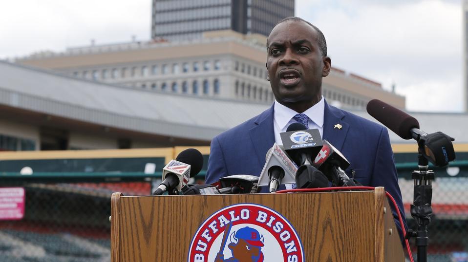 Buffalo New York Mayor Byron Brown at press conference