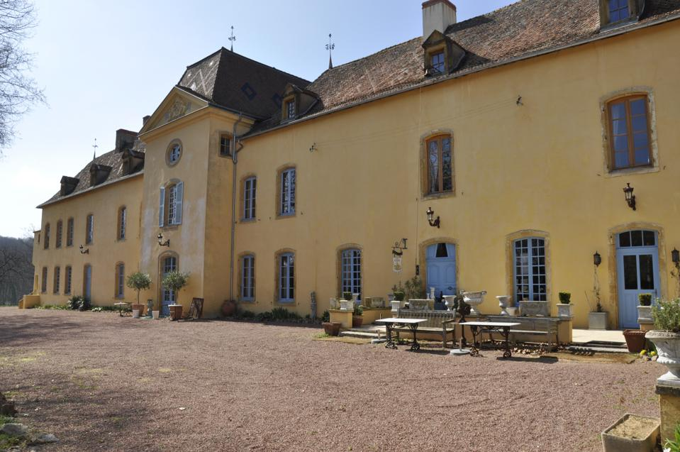 exterior of 16th century french chateau with diamond pattern roof