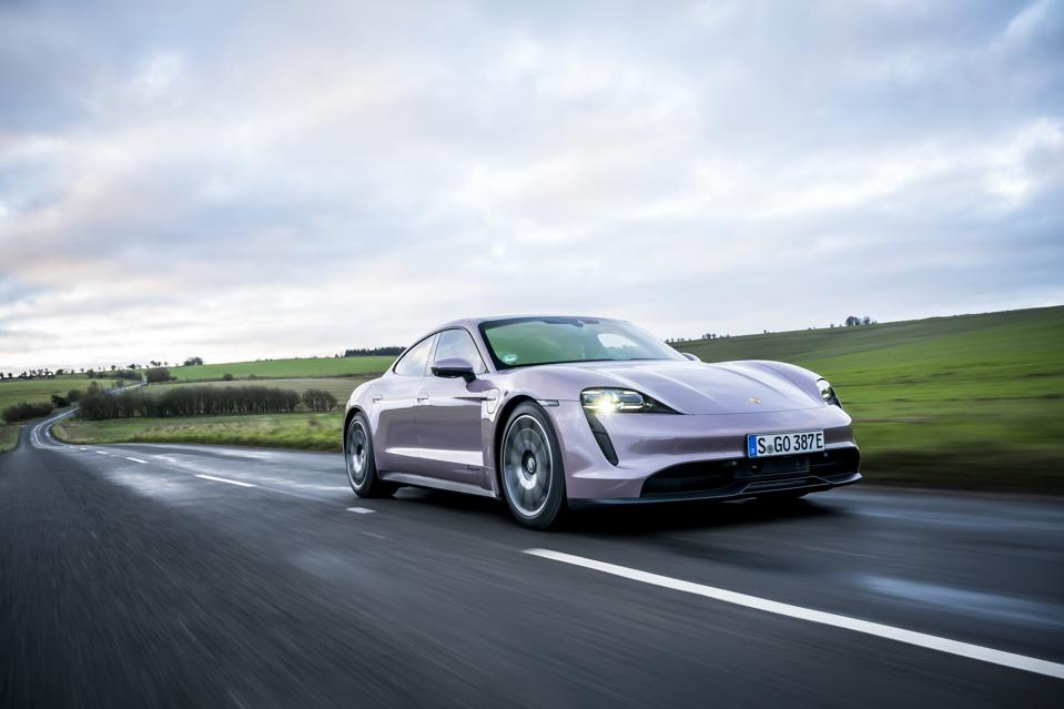 Front three-quarter view of the Porsche Taycan electric car