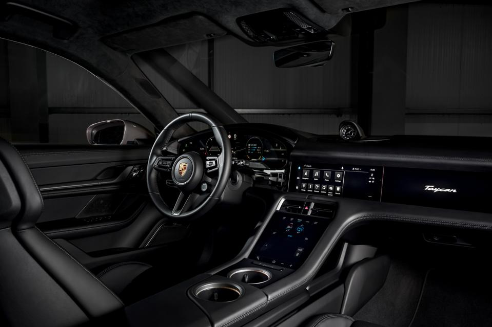 Interior and dashboard of the Porsche Taycan electric car