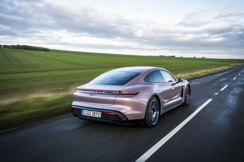Rear three-quarter view of the Porsche Taycan electric car