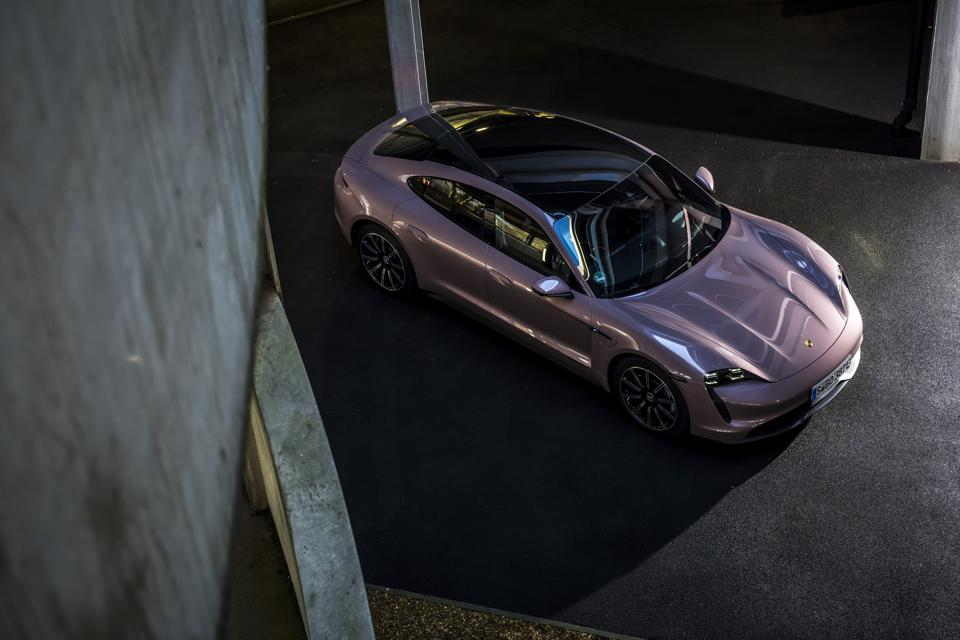 Side and front view of the Porsche Taycan electric car