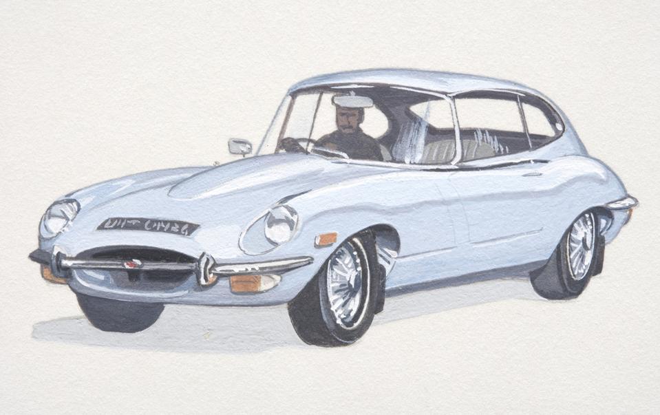 1960's E-Type Jaguar, side view.