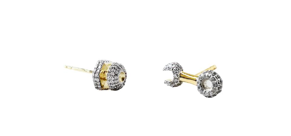 Nut and Bolt and Wrench diamond-set earrings, Pavé the Way by Joan Hornig.