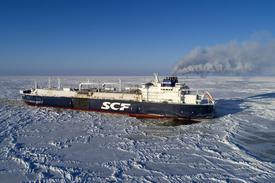Arctic tanker Christophe de Margerie surrounded by sea ice.