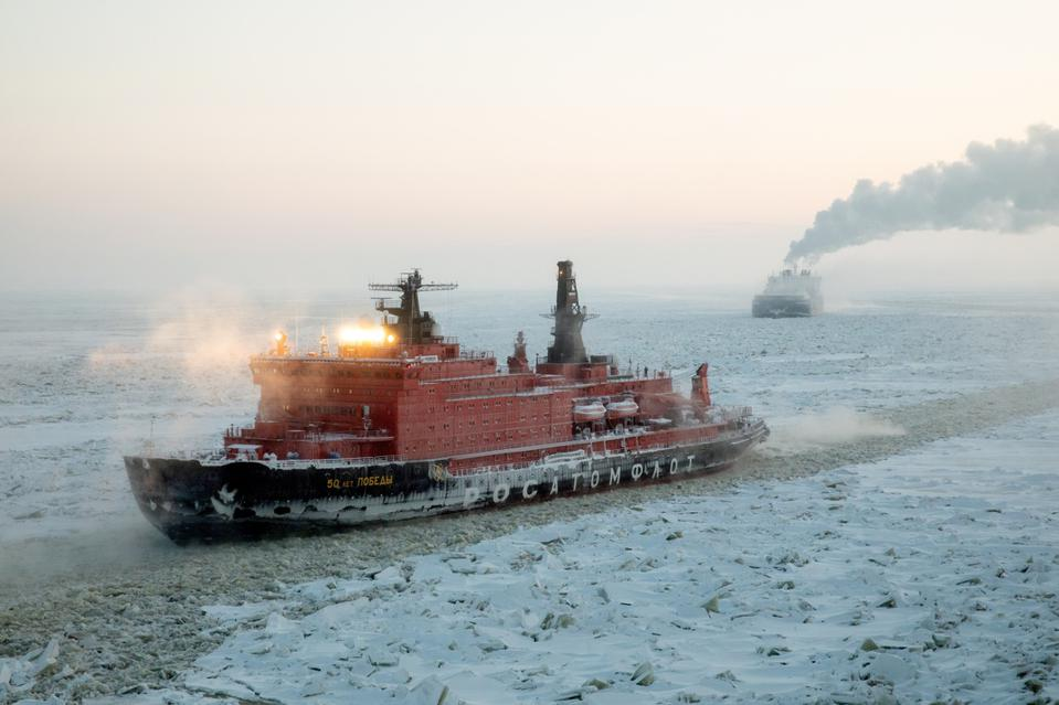The nuclear powered 50 Let Pobedy icebreaker makes its way through Arctic ice.