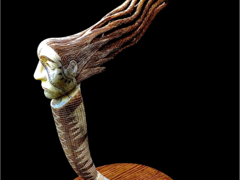 ″TADODAHO″, Carving on Elk Antler by Hayden Haynes
